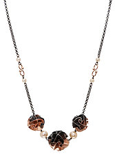 3 Bead Flora Necklace in Rose Gold by Chihiro Makio (Gold & Silver Necklace)