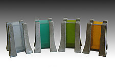 Candle Pillar by Terence S. Dubreuil (Concrete & Art Glass Candleholder)