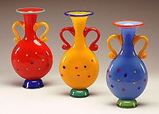Red Spotted Bottle by Ken Hanson and Ingrid Hanson (Art Glass Vase)