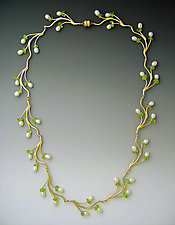 Pearl & Peridot Branch Necklace by Ellen Vontillius (Gold, Pearl & Peridot Necklace)