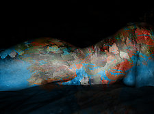 Nude Reclining in Blue and Gold by Michael Williams (Color Photograph)