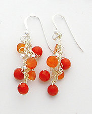 Crescendo Coral Earrings by Sharmen Liao (Silver, Coral & Carnelian Earrings)