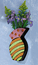 Orange & Green Stripe Vase by Diana Crain (Ceramic Wall Sculpture)