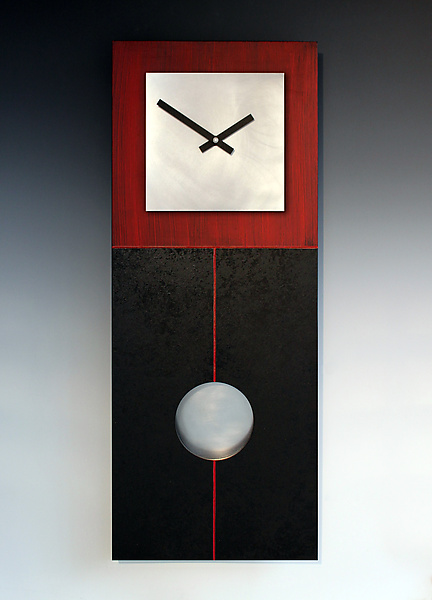 Jane Pendulum Clock in Red & Black