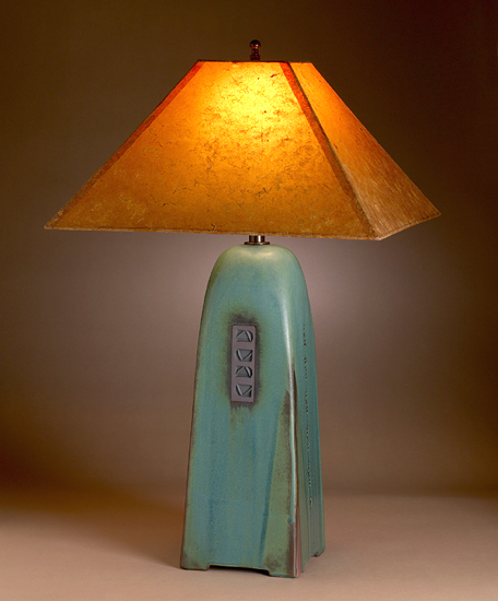 Viridian Lamp with Coffee Lokta Shade