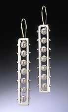 Long Tambourine Earrings by Patricia Madeja (Silver & Pearl Earrings)