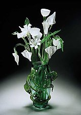 Leaf Vase with White Bouquet by David Van Noppen (Art Glass Sculpture)