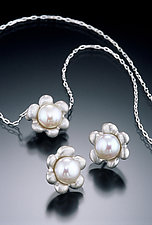 Six Petal Flower Pendant & Earrings by Kathleen Lynagh (Silver & Pearl Earrings & Pendant)