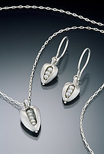 Pearl Pod Pendant & Earrings by Kathleen Lynagh (Silver & Pearl Earrings & Pendant)