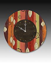 Leaf Stripe Multi Wall Clock by Janna Ugone and Justin Thomas (Wood Clock)