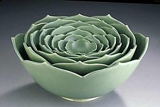 Eight Nesting Lotus Bowls by Whitney Smith (Ceramic Sculptural Bowls)