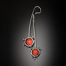 Rosehip Mood Earrings by Aleksandra Vali (Silver & Coral Earrings)