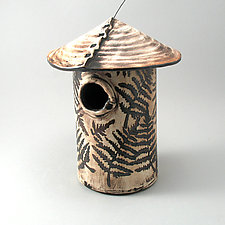 Fern Leaf Bird House by Cheryl Wolff (Ceramic Birdhouse)