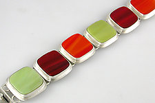 Six Squares Bracelet by Amy Faust (Silver & Glass Bracelet)