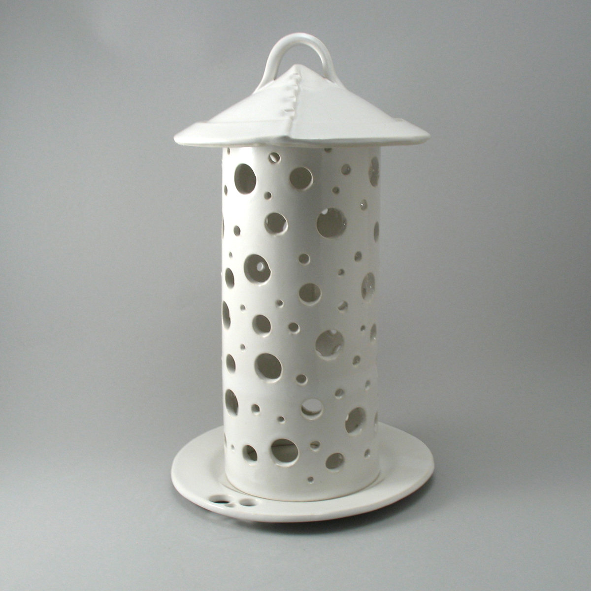 Round circle lantern white glaze by cheryl wolff ceramic for Best brand of paint for kitchen cabinets with hanging crystal candle holder