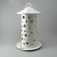 Round Circle Lantern, White Glaze by Cheryl Wolff (Ceramic Candleholder)