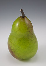 Green Pear Paperweight by Shawn Messenger (Art Glass Paperweight)