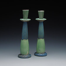 Medium Ceramic Candlesticks by Frank Saliani (Ceramic Candleholders)