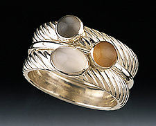 Moonstones, Cable Bands by Donald Pekarek (Silver, Gold & Stone Stacking Rings)