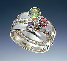 Serenade by Donald Pekarek (Silver, Gold & Stone Stacking Rings)