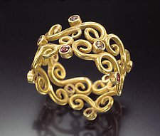 Scrolling Flourish Ring by Natasha Wozniak (Gold & Sapphire Ring)
