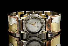 Full Moon Brass Wave by Eduardo Milieris (Silver & Brass Men's Watch)