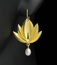 Lotus Pearl Drop by Thea Izzi (Gold & Pearl Earrings)