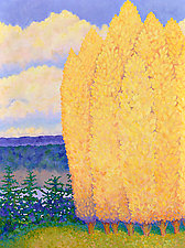 The Poplars' Golden Message by Gail Powell (Oil Painting)