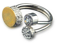 Floating Dot Ring by Elizabeth Garvin (Silver, Gold & Stone Ring)