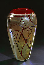 Golden Gem Vase - Garnet by Cristy Aloysi and Scott Graham (Art Glass Vase)