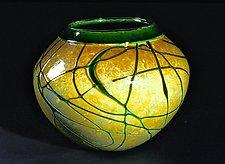 Golden Gem Vase - Emerald by Cristy Aloysi and Scott Graham (Art Glass Vase)