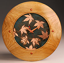 Falling Leaves Wall Clock by Peter F. Dellert (Wood Clock)
