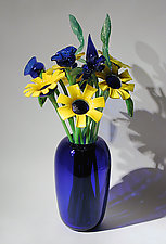 Cobalt Vase with Sunflowers by David Van Noppen (Art Glass Vase and Flowers)