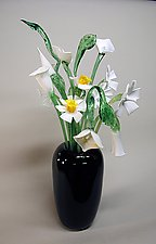 Black Vase with White Flowers by David Van Noppen (Art Glass Vase and Flowers)