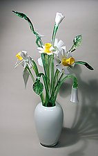 White Vase with Daffodils by David Van Noppen (Art Glass Vase and Flowers)