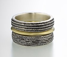 Earth Elements Ring Set II by Susan Barth (Silver & Gold Rings)