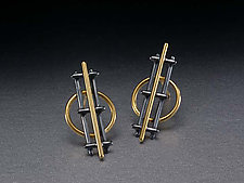 Prairie School Earrings by Ben Neubauer (Silver & Gold Earrings)