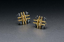 Tic-Tac-Toe Earrings by Ben Neubauer (Silver & Gold Earrings)