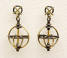 Gyroscope Earrings by Ben Neubauer (Silver & Gold Earrings)