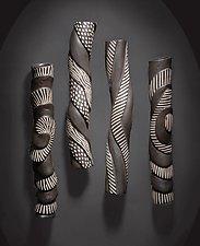 Sculptural Wall Tube Set by Larry Halvorsen (Ceramic Wall Sculpture)