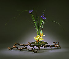 Glass Bowl & Bronze Ikebana by Carol Green (Bronze Ikebana)