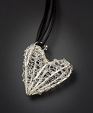 Silver Heart Pendant by Randi Chervitz (Silver or Gold & Leather Pendant)