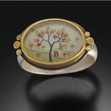 Oval Autumn Maple Ring by Ananda Khalsa (Silver Ring)