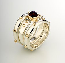 Forged End Ring Set by Linda Smith (Silver, Gold & Stone Rings)