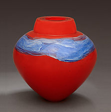 Lacquer Red Emperor Bowl by Randi Solin (Art Glass Vessel)