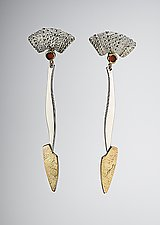 Seaweed Dangle Earrings by Hratch Babikian (Gold, Silver & Stone Earrings)