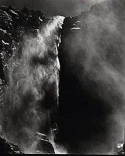 Bridalveil Falls, California by Allan Baillie (Black & White Photograph)