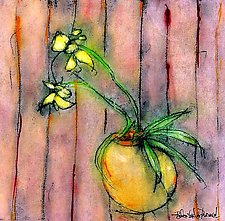 Yellow Orchid in an Orange Bowl by Roberta Ann Busard (Giclee Print)