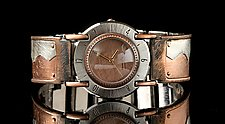 Full Moon Copper Wave by Eduardo Milieris (Silver & Copper Men's Watch)