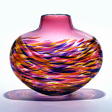 Low Flat Vortex Vase: Cranberry by Michael Trimpol and Monique LaJeunesse (Art Glass Vase)